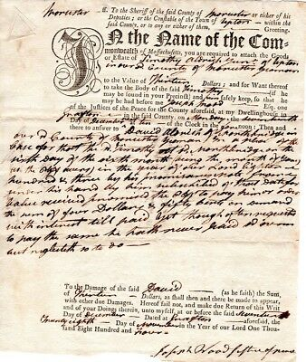 1805, Dr. Joseph Wood, Patriot, Soldier, Justice, Worcester, Mass. signed writs
