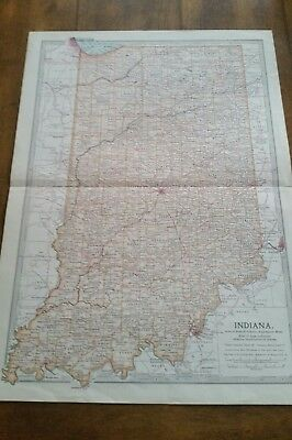 1902 Matthews Northrup detailed Map of Indiana... very Nice!