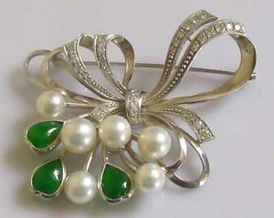 Mikimoto Cultured Pearl, Jade & Diamond Brooch 14ct White Gold (M & K14) Boxed