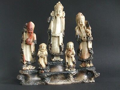 Vintage Antique carved Chinese soapstone figural group of Immortals