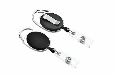 1 Retractable Badge Holder Carabiner Reel Clip On Id Card Holders - Made in USA!