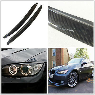 2x Carbon Fiber Headlight Eye Lid Eyebrow Glossy For 07-12 BMW E92 E93 M3 Coupe
