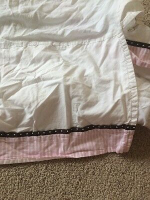 Pottery Barn Kids Penelope Crib Skirt White Pink Brown