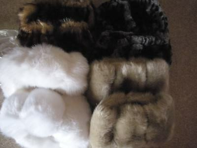 Dennis Basso lot of 4 pairs faux fur boot toppers NWOT white, gray, sable, cream