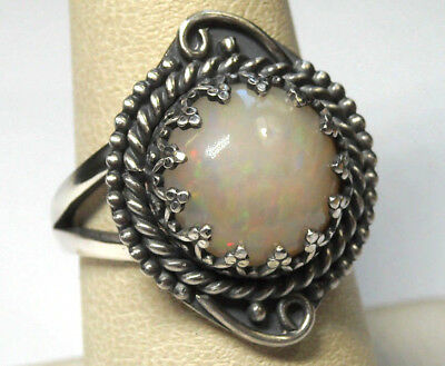 925 Sterling Silver Ring Size 8 Natural Multi-color 13mm Fire Opal Handmade NEW