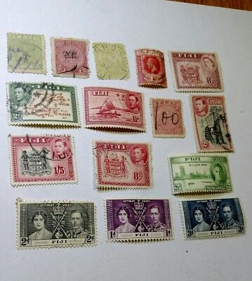 Lot of 15 old Stamps Fiji Rare  watermark, see all Scan