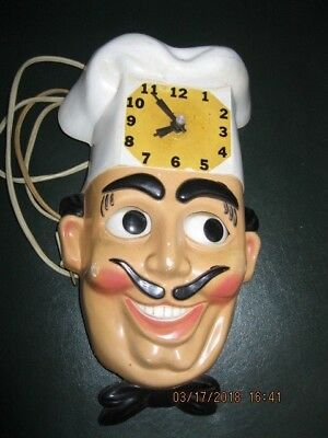 Vtg FRENCHIE 100 Chef Motion CLOCK Early 1950's Works Eyes+Bow Tie Move