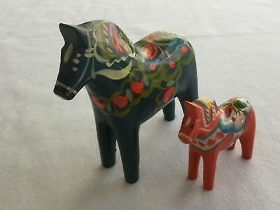 """5"""" Nils Olsson Hand Painted Blue Wooden Dala Horse and 3"""" Red Horse from Sweden"""