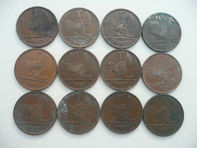 Lot of 12 Irish One Penny Animal Coins of Ireland - hens and chicks
