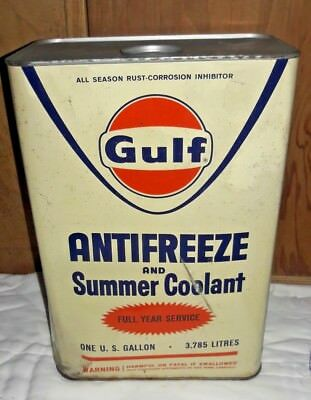 Vintage Gulf Antifreeze One Gallon Metal Can FULL CAN, NOT OPENED