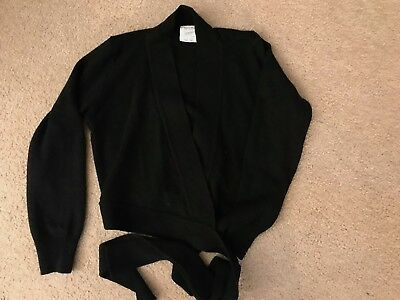 EUROTARD Dancewear 72523c Black Long Sleeve Wrap Knit Sweater Child Large