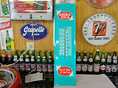 "Reissue BEAUTIFUL Double Cola SODA Thermometer Sign Very Nice  7"" X 28"""