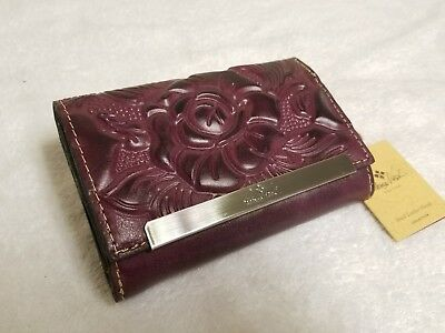 Patricia Nash Burgundy Tuscan Cametti Tooled Trifold Wallet Italian Leather NWT