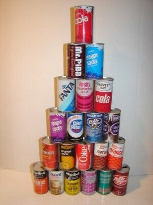 Vintage Lot Soda Pop Can Pull Tab 12 Oz Tin Steel Shasta Montreal Dads Coke