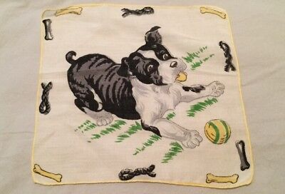 Vintage Children's Handkerchief Hanky - Cute Puppy Dog Playing With Ball