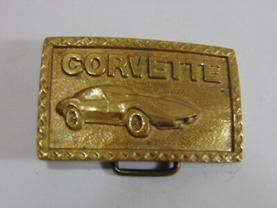Vintage Collectible Brass Chevy Corvette Belt Buckle 1980s