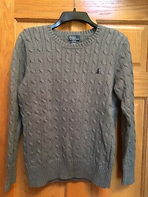 Polo Ralph Lauren Boys Cable Knit grey Sweater Size L (14-16) Kids large