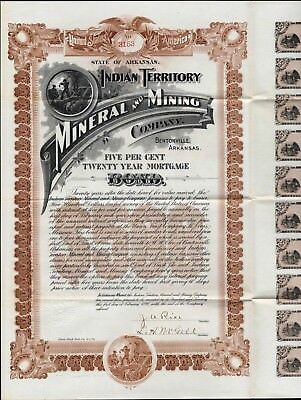 $500 Indian Territory Mineral And Mining Co Bond, 1898 With 20 Coupons