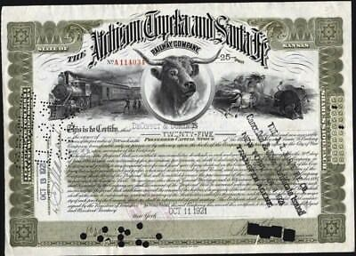 Atchison, Topeka And Santa Fe Railway Co, 1921 State Of Kansas Stock Certificate