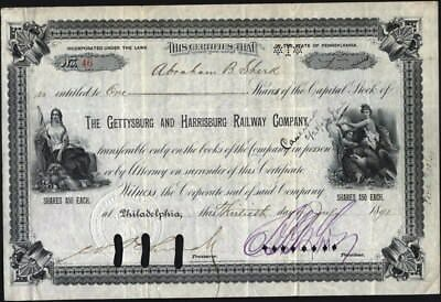 Gettysburg And Harrisburg Railway Co, 1898 Cancelled Stock Certificate