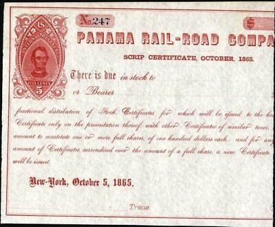 Panama Rail - Road Co Scrip Certificate, 1865 With Red Imprinted Rev. Crisp