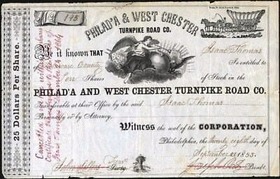 Philad'a West Chester Turnpike Road Co, 1853 Stock Certificate
