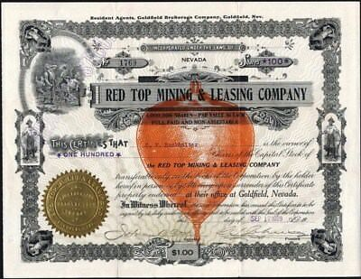 Red Top Mining & Leasing Co, 1909 Goldfield, Nv, Uncancelled Stock Certificate
