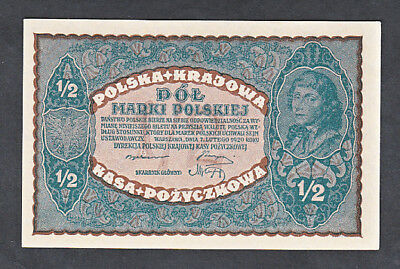 Uncirculated Polish State Loan Bank 1/2 Marki Note #30 1920