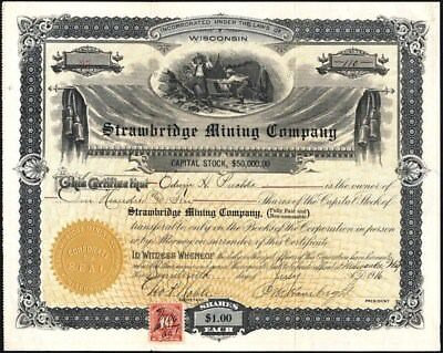 Strawbridge Mining Co, 1916, Milwaukee, Wi, Uncancelled Stock Certificate
