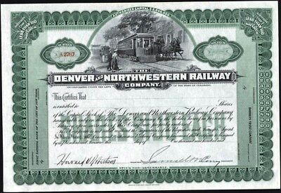 Denver And Northwestern Railway Co Of Colorado, 190-, Partly Issued Crisp Cft.