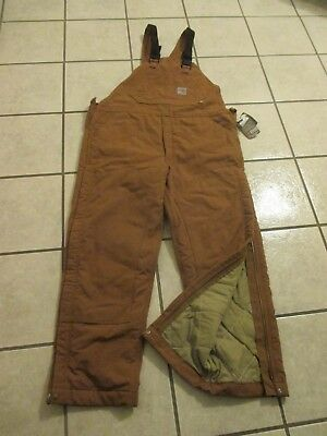 Carhartt 38 X 32 Fr Duck Bib Overalls, Quilt Lined Double Front, New With Tags