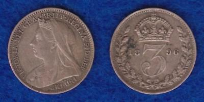 Great Britain Silver Three Pence 1896 Xf ---  Olvh
