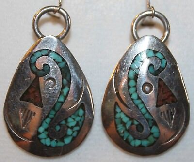 Vintage Tommy Singer 925 Sterling Silver Turquoise Coral Chip Inlay Earrings Stc