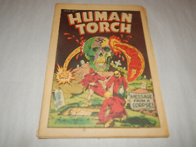 """GREAT FIND 1943 Golden Age Comic """"Human Torch"""" """"Message From A Corpse"""" COMPLETE"""
