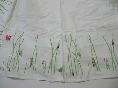 Pottery Barn Kids   Crib Skirt Bugs Snail, Catipiller Butterfly Embroidery  Euc