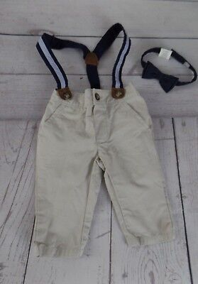 Dressed Up by Gymboree Boys 3-6 Months Khaki Chino Pants Suspenders & Bow Tie