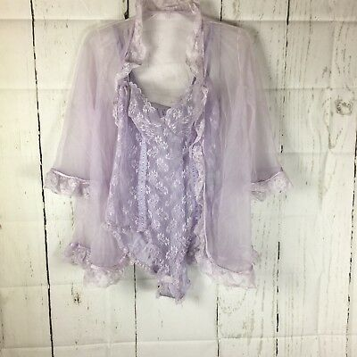 Vintage 70's  PANDORA by Chic Lavender Sheer Peignoir Teddy & Robe Lacy Sexy M
