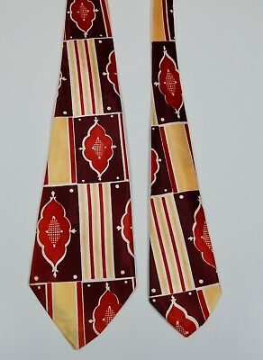 Vintage 1940s Swing Tie - Brown, Gold, Maroon with Stripes and Medallion