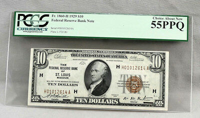 1929 $10 Federal Reserve Bank St Louis FR 1860-H Note! CHOICE ABOUT NEW 55 PPQ!