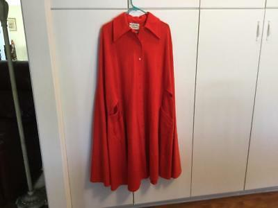 Rare Vintage OSCAR DE LA RENTA Long Red-Reddish Orange CAPE