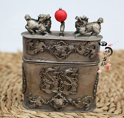 Collectible Decorate Hand Old Tibet Silver Carve Dragon Phoenix Tobacco Box