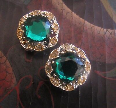 Art Deco 30's Emerald Green And White Rhinestone Clip On Earring Sarah Coventry