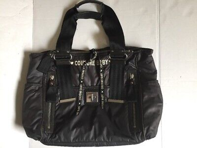 Authentic JUICY COUTURE BABY LG Black Polyester Tote Diaper Bag w/ Sheep Leather