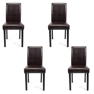 Dining Room Chairs Kitchen Formal Elegant Leather Design 4 Set Brown