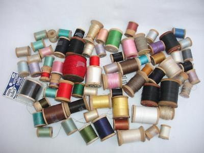 73 Huge Lot Vintage Wooden Bobbin Spool w/ Threads ANTIQUE Holders Wood