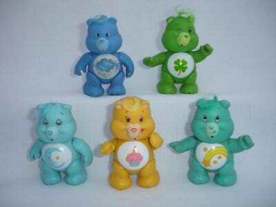 5 Lot Vintage CARE BEARS PVC Poseable FIGURES Good Luck Wish Birthday Grumpy