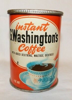 RARE old George Washington Instant Coffee Advertising Tin Can 1/4 Pound Can