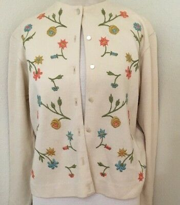 Vintage Embroidered Floral Sweater Top Jacket  Pin Up Cardigan Sweater Stunning