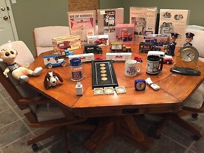 Maytag Collectible Trucks, Model Washer, Stuffed Dog and Advertisements