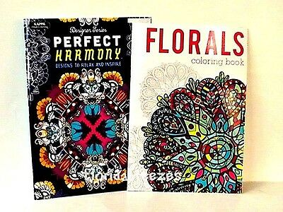 *PERFECT HARMONY & FLORALS* ADULT Coloring BOOKS, Set-2,32 PG EA Gift!